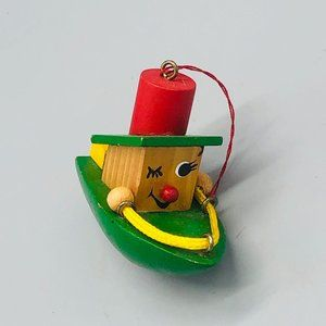 vintage Christmas ornaments boat green red wood 3×